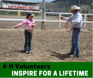 4-H volunteer teaching a member to rope