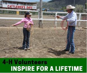 4-H volunteer teaching a member to rope